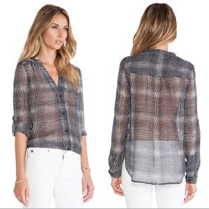 DVF Harlow Silk Blouse in Optic Plaid Black
